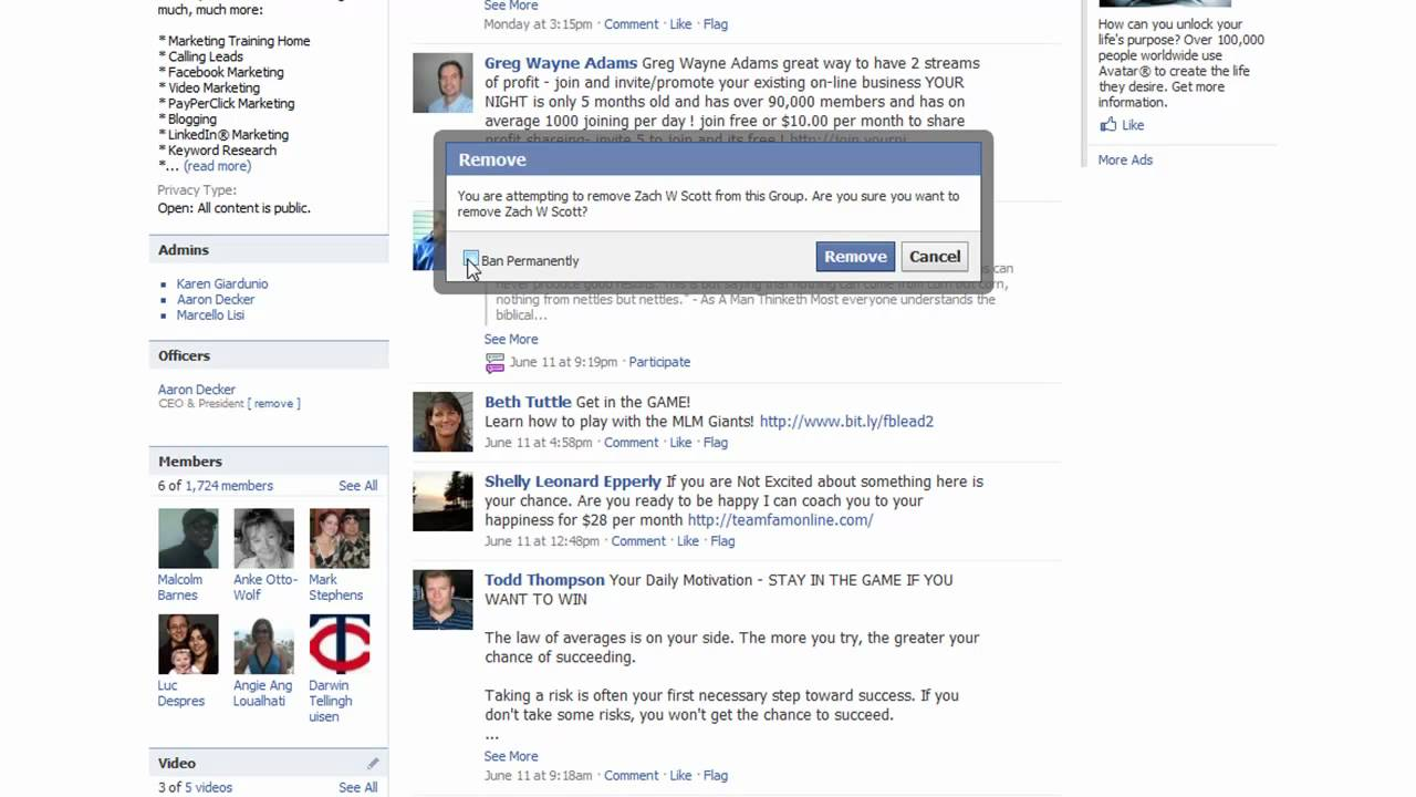 Remove yourself or a member from a Facebook Group - YouTube