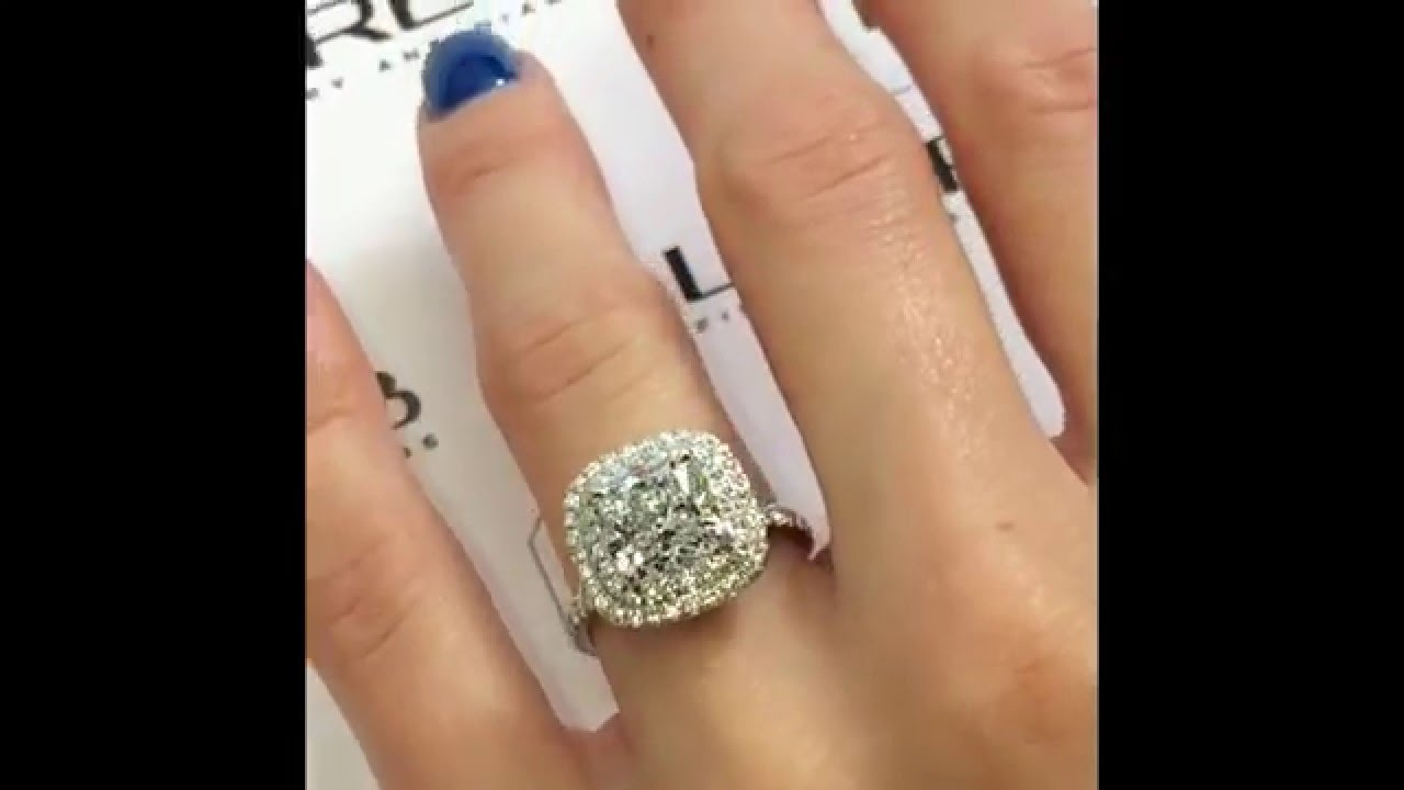 3 Carat Cushion Diamond Engagement Ring In Double Halo   YouTube