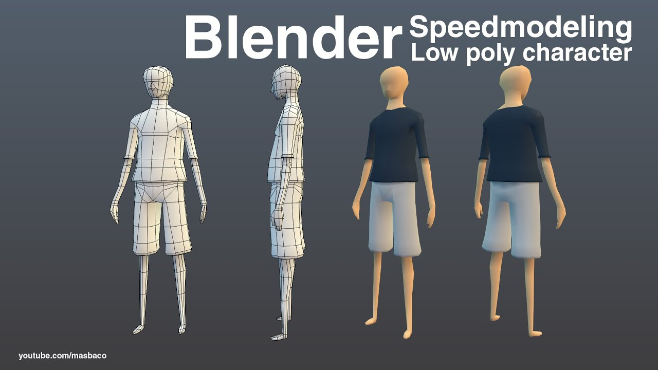 Simple Low Poly Character Design Blender Standard Material Youtube