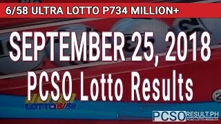 PCSO Lotto Results Today September 25, 2018 (6/58, 6/49, 6/42, 6D, Swertres, STL & EZ2)