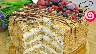Невероятно Орехово Медовый Торт Бисквит с арахисом и медом Пропитка из меда Масляный крем