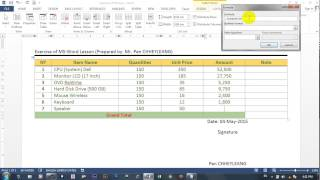 how to calculate in ms word 2013