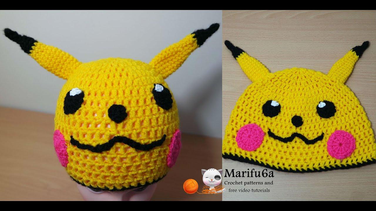 How to crochet pikachu hat pokemon free pattern tutorial by marifu6a ...