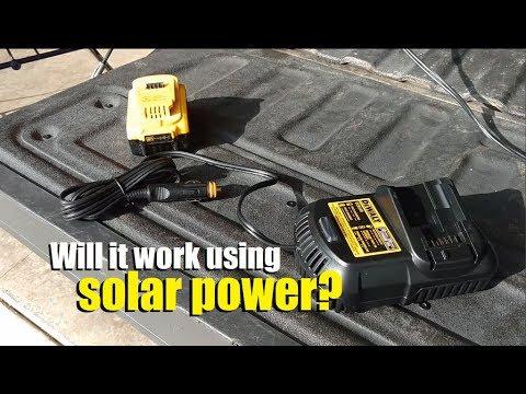 DeWalt DCB119 20v lithium battery car charger: charging using solar power