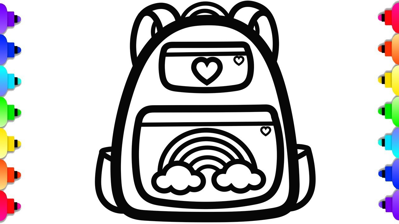 Glitter Backpack Coloring And Drawing