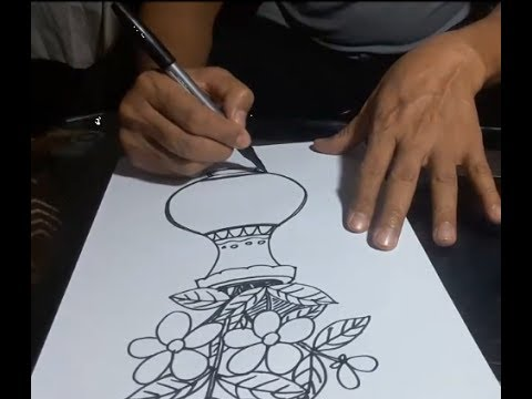 Art Craft How To Draw A Flower Vase Youtube