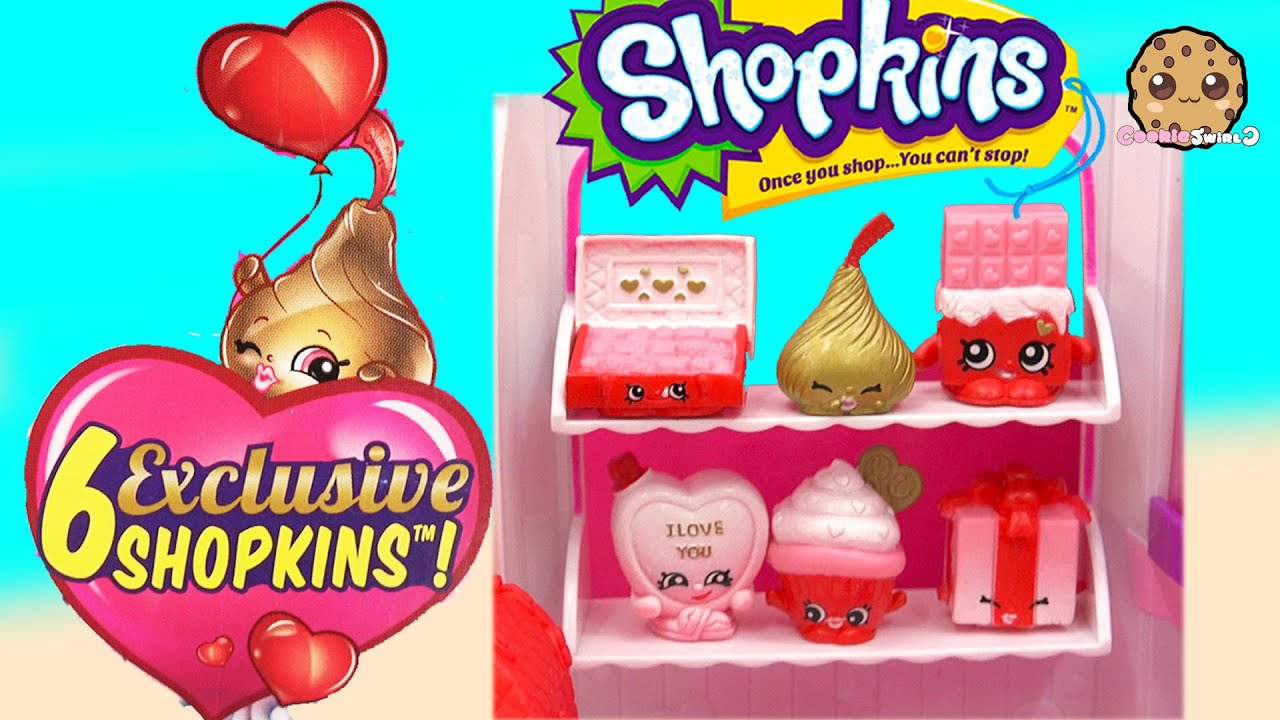 Shopkins sweet heart collection valentines day holiday set with 6