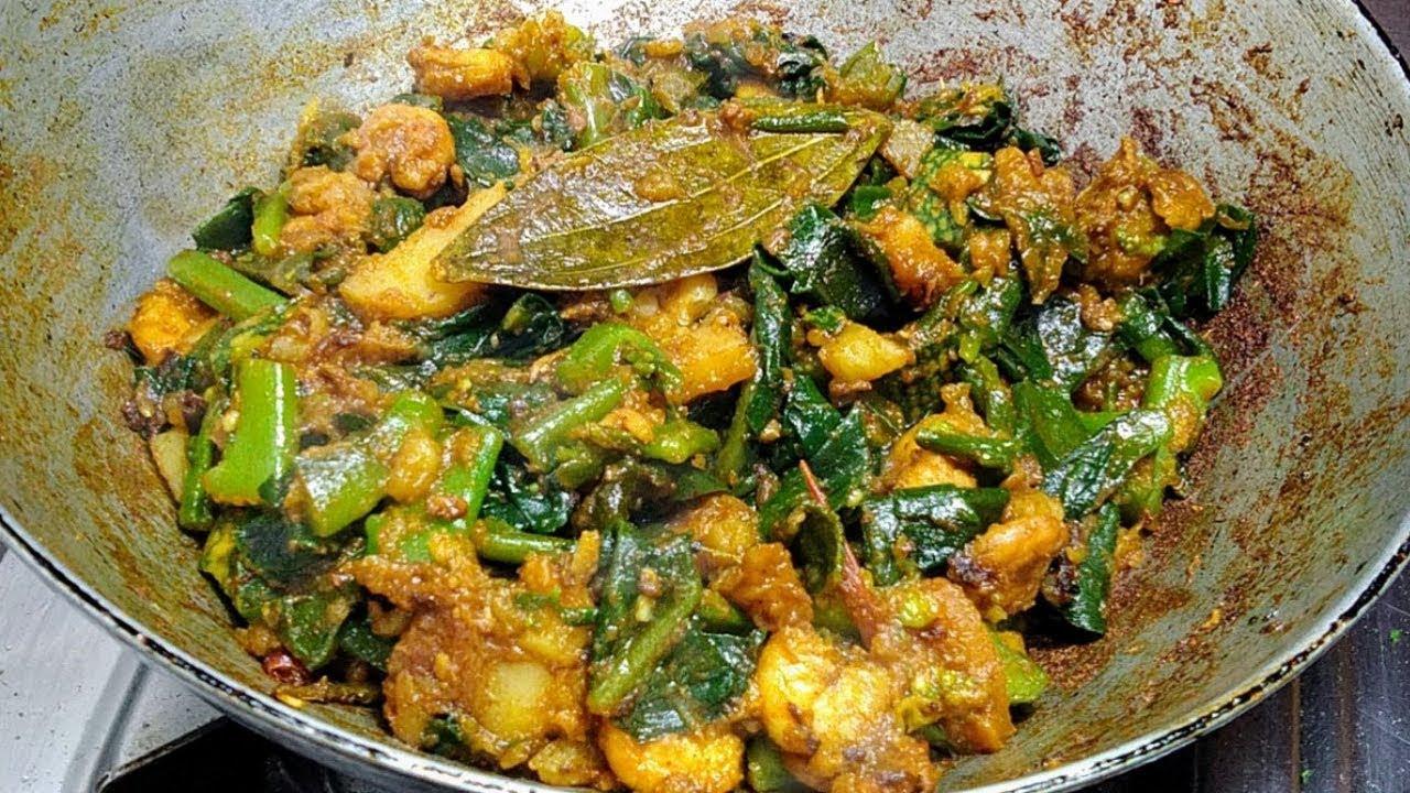 Pui Shaker Chorchori | Bengali Veg Recipes | Pui Saag Kumro Chorchori | Pui Saag Recipe
