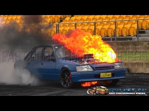 LS2PWR CATCHES FIRE AT PHIL KERJEAN BIRTHDAY BURNOUTS SYDNEY DRAGWAY 24.1.2014