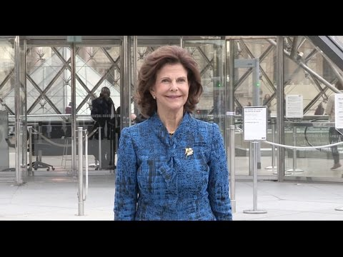 Queen Silvia of Sweden visits Exhibition at The Louvre Museum in Paris
