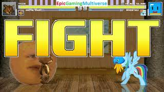 Tedi The Robotic Teddy Bear And Annoying Orange VS Healslime And Rainbow Dash In A MUGEN Match