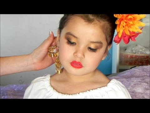 Maquillaje de folklorico para ni as dorado y cafe youtube for Pintarse los ojos facil