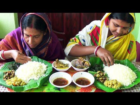 Eating Rice With Gira Shak Fry,Dumur(Fig) Fry,Kolar Thor Ghonto,Japani Putir Jhol,Tetuler Chutney