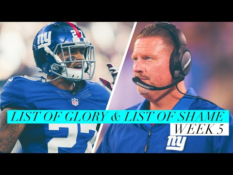 List of Glory &  List of Shame - Week 5 -The New York Giants remain winless at 0-5
