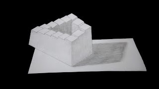 3D Trick Art How To Draw 3D Penrose stairs/Step By Step -3d models/easy drawings/drawing lessons