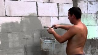 Неудачная попытка штукатурки пеноблока.(Пытался отштукатурить пеноблок, вернее даже типа покрасить цементной смесью. Задумка была выровнять цвет..., 2013-08-01T17:37:30.000Z)