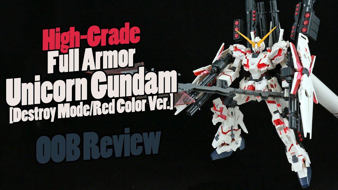 RX-0 Full Armor Unicorn Gundam Destroy Mode Red GUNPLA HGUC High Grade 1//144