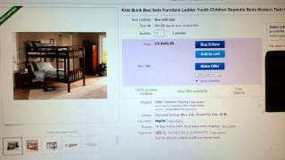 Kids Bunk Bed Sets Furniture Ladder Youth Children Separate Beds Modern Twin New W/ Mattresses