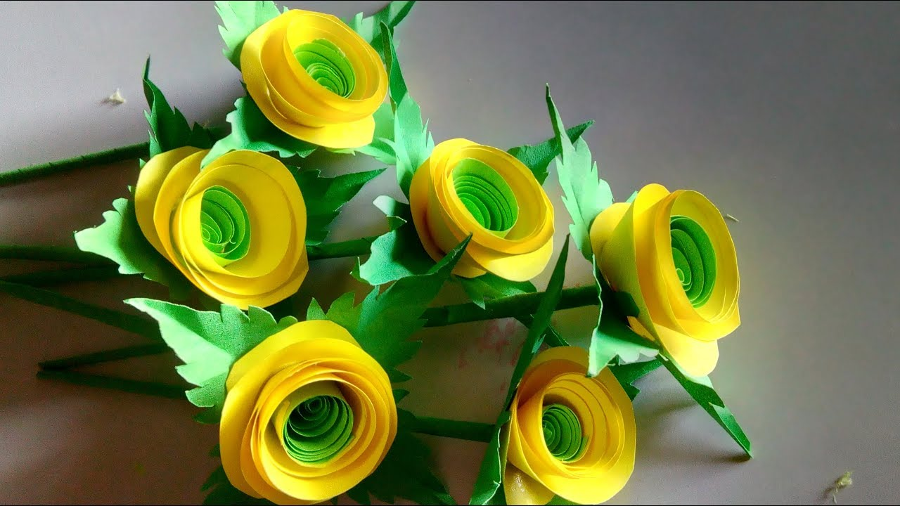 Yellow Colour Rolled Paper Flowers Craft Colour Rolled Paper