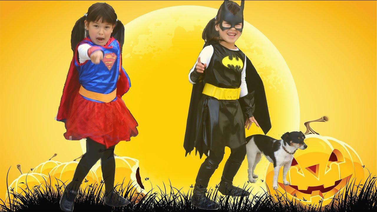 Halloween Costumes for Kids little girls  Batgirl and Supergirl | TheChildhoodLife  sc 1 st  YouTube & Halloween Costumes for Kids little girls : Batgirl and Supergirl ...