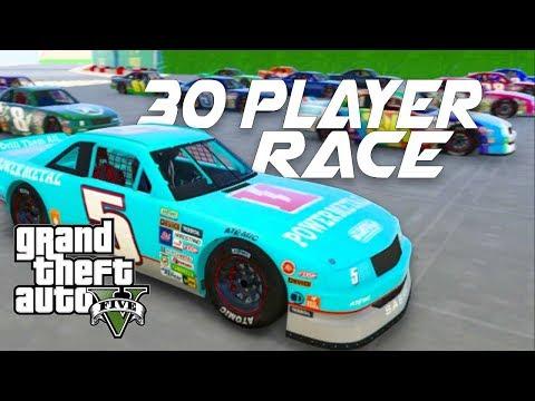 GTA 5 Online - 30 Man NASCAR Series Racing!! HOLLY SH**T REALLY!!