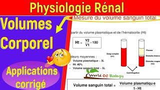 Mesure des volumes corporels et volume sanguins totale  [[ Physiologie Rénale ]]