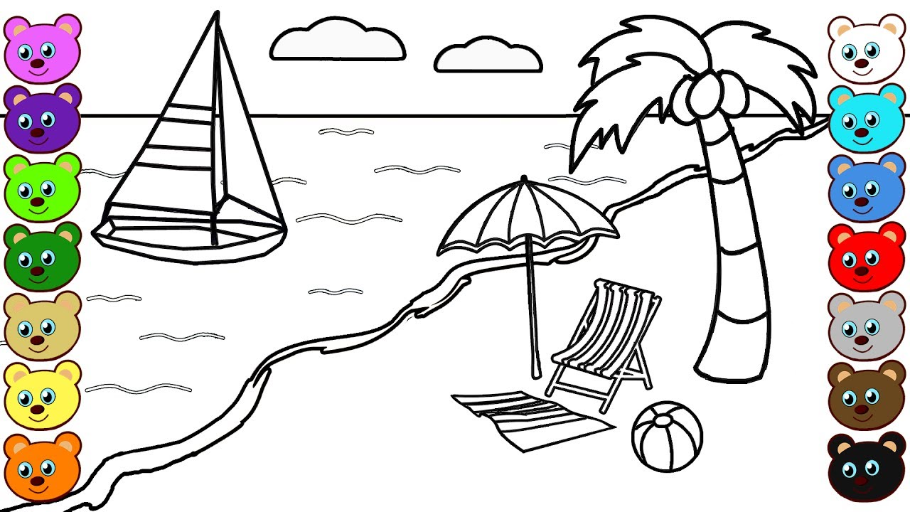 beachfront coloring pages - photo#2