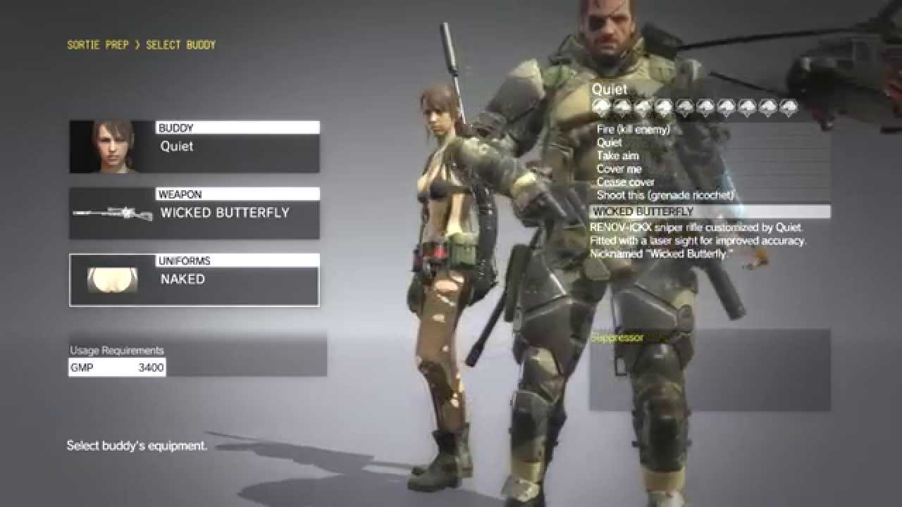Metal Gear Solid 5 Phantom Pain , Quiet All Costumes / All Weapons