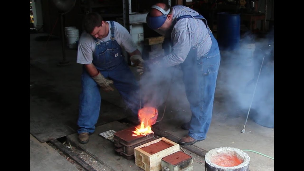 Pouring Molten Brass Backyard Molding And Foundry Work
