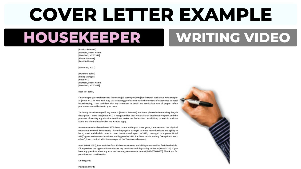 Cover Letter Example For Housekeeper 2021 Housekeeping Position Youtube