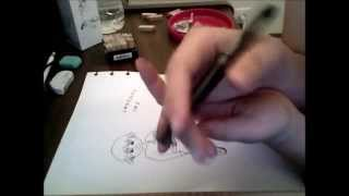 Drawing and Stamping with Noodler's Heart of Darkness FP ink - For Noodler's 2013 Art Contest Thumbnail