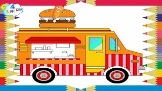 How to Draw Car Burger for Kids Coloring Pages Youtube Videos Learn Colors Childrens