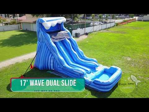 17 Wave Dual Lane Water Or Dry Slide Magic Jump Rentals Youtube