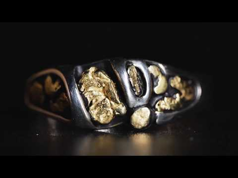 """Gold Nugget Men's Ring """"Orocal"""" RM487 Genuine Hand Crafted Jewelry - 14K Casting"""