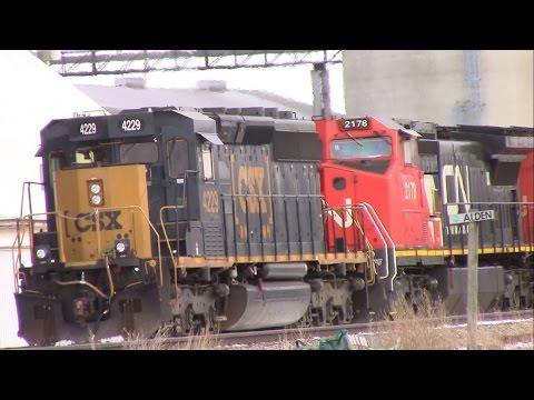 CSX & CRANDIC units on Canadian National track in Alden, Iowa