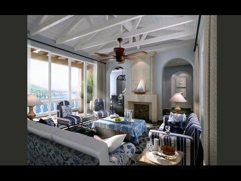 Light blue living room interior 3d design