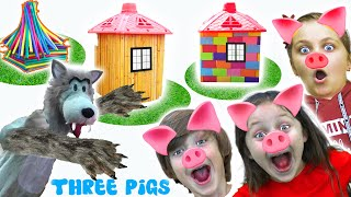Five kids family play Three Little Pigs | Instructive Nursery rhymes & Fairy tales by Chiki-Piki