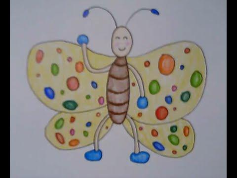 ผีเสื้อ สอนวาดรูปการ์ตูนน่ารักง่ายๆ สอนวาดรูประบายสี