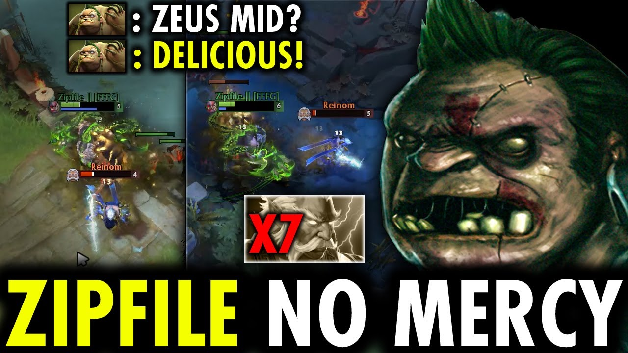 When Zipfile Treated Zeus Mid like a Food - NonStop Gank Insane Hook | Genius Pudge