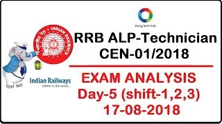 RRB ALP/TECH(17th August 2018 all shifts) Exam analysis & asked questions
