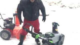 EGO battery operated snow blower vs Ariens gas comparison Skip Bedell