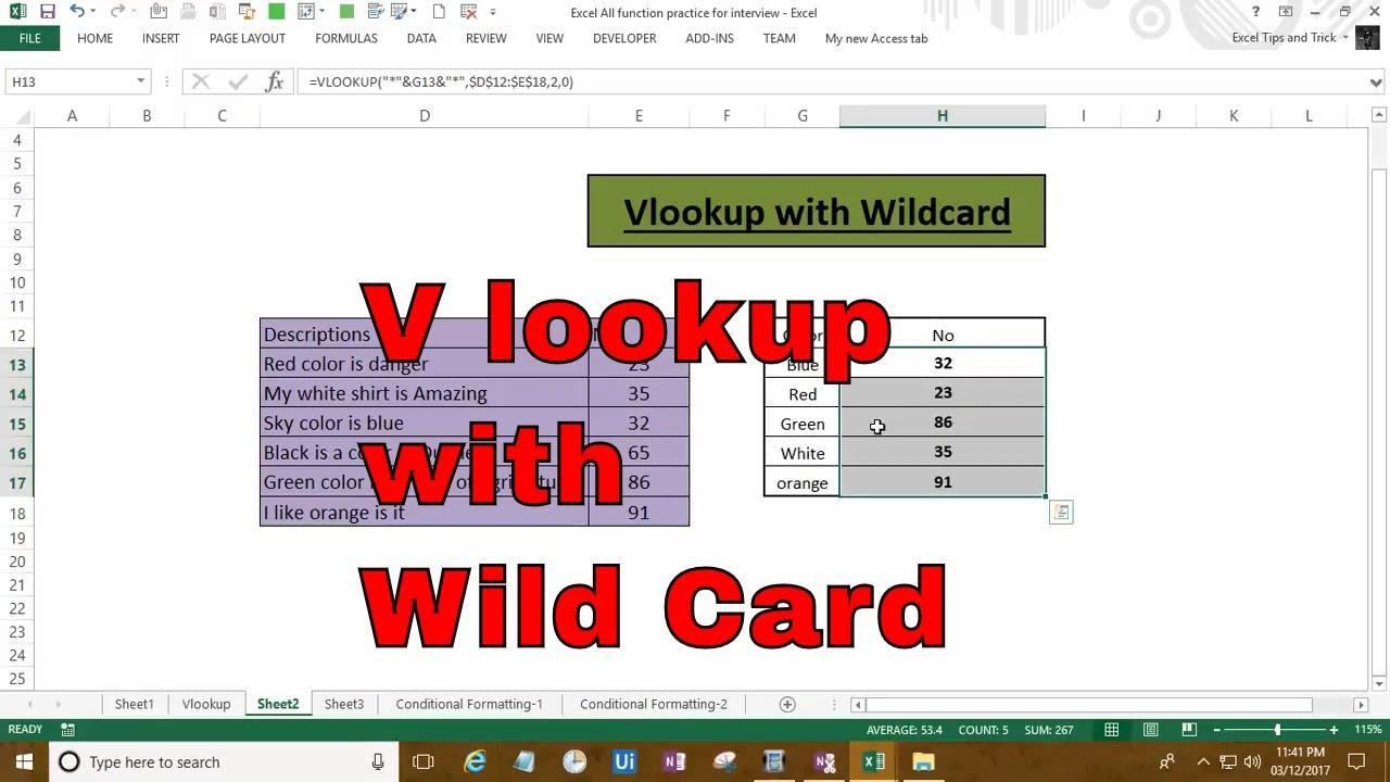 Excel Vlookup with wildcard