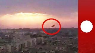 Shocking moment Libya military jet crashes into ground caught on tape