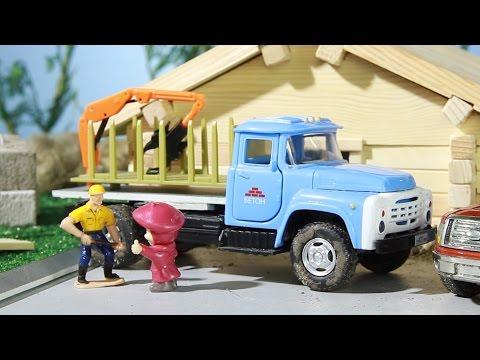 Мультик про машинки. Лесовоз, трактор, самосвал, Маша и Медведь.  МанкиМульт