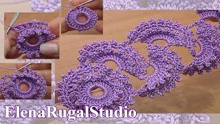 Beginning the Tape Crochet Round Motif  Урок 3 часть 2 из 2 Ажурное ленточное кружево