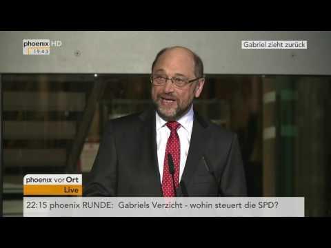 Kanzlerkandidat der SPD steht fest: Statements von Martin Schulz und Sigmar Gabriel am 24.01.2017