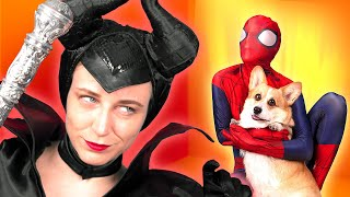 Happy Dog And Spiderman VS Maleficent's Power