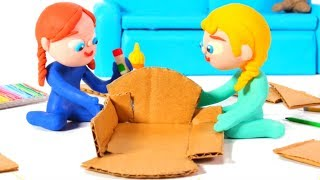 Frozen Elsa & Anna Build A Doll' S House ❤ Spiderman, Hulk & Frozen Play Doh Cartoons For Kids