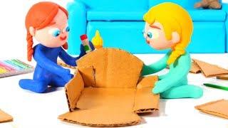 Frozen Elsa & Anna Build A Doll' S House ❤ Spiderman, Hulk & Frozen Play Doh Cartoons For Kids