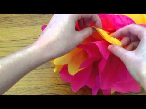 DIY Tissue Paper Pom-Poms: fluffing the pom-pom